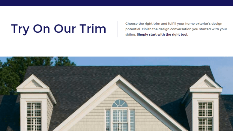 Online design tool helps users to choose trim options for Online exterior design tool