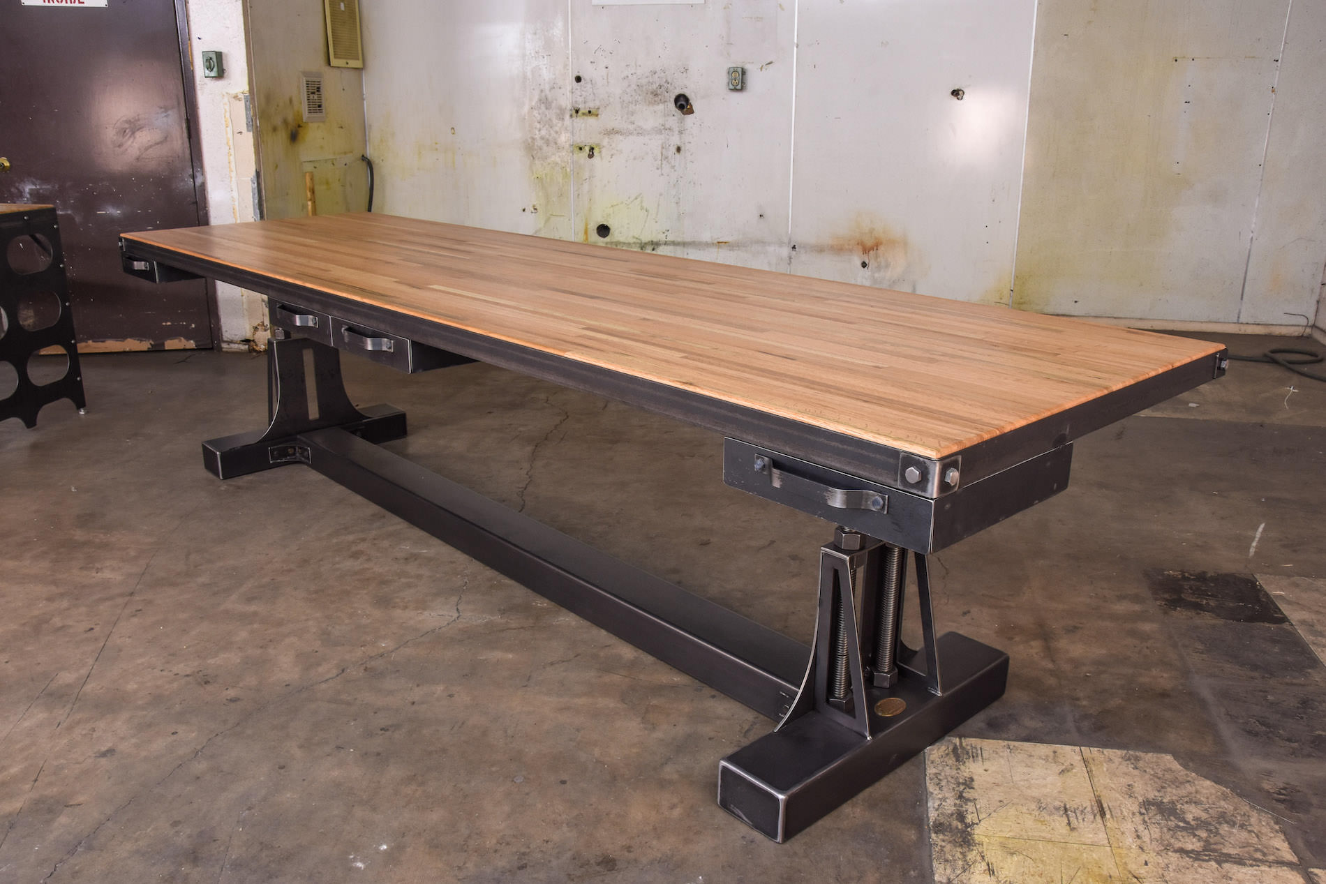 Industrial Media Console Post Industrial Double Workstation – Model #po1 – Vintage
