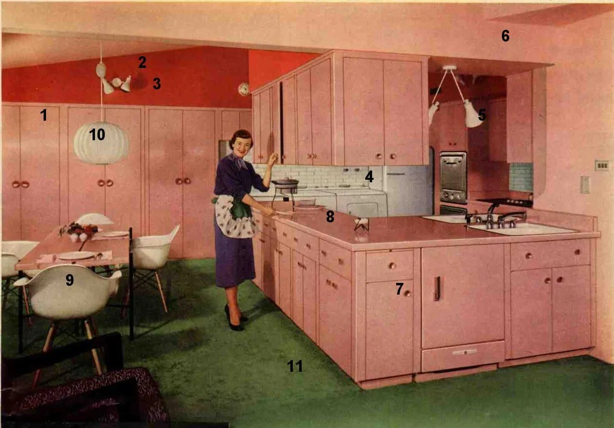 Pink And Black Kitchen Decor 1953 Formica Pink Kitchen Today 39s Kitchen Flashback