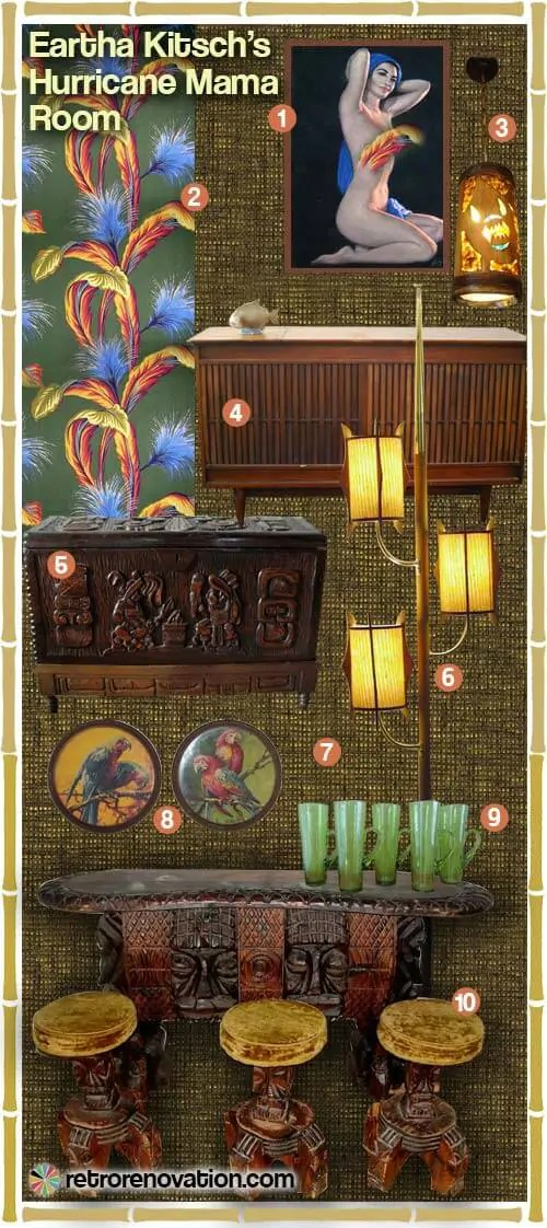 Rattan Lounge Vintage A Tiki Bar For Your Basement - Three Mood Boards - Retro
