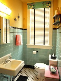 Kristen and Paul's 1940s style aqua and black tile ...