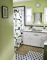 Black and white tile bathrooms