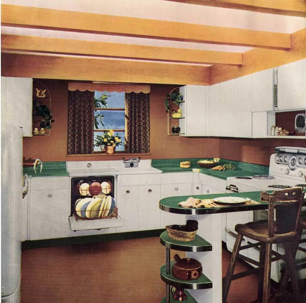 1950s Kitchen Design Six Kitchen Designs From 1953 Avco American Kitchens Retro