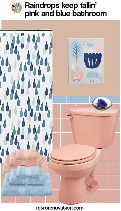 Round Mirror Urban Outfitters 13 Ideas To Decorate A Pink And Blue Tile Bathroom Retro