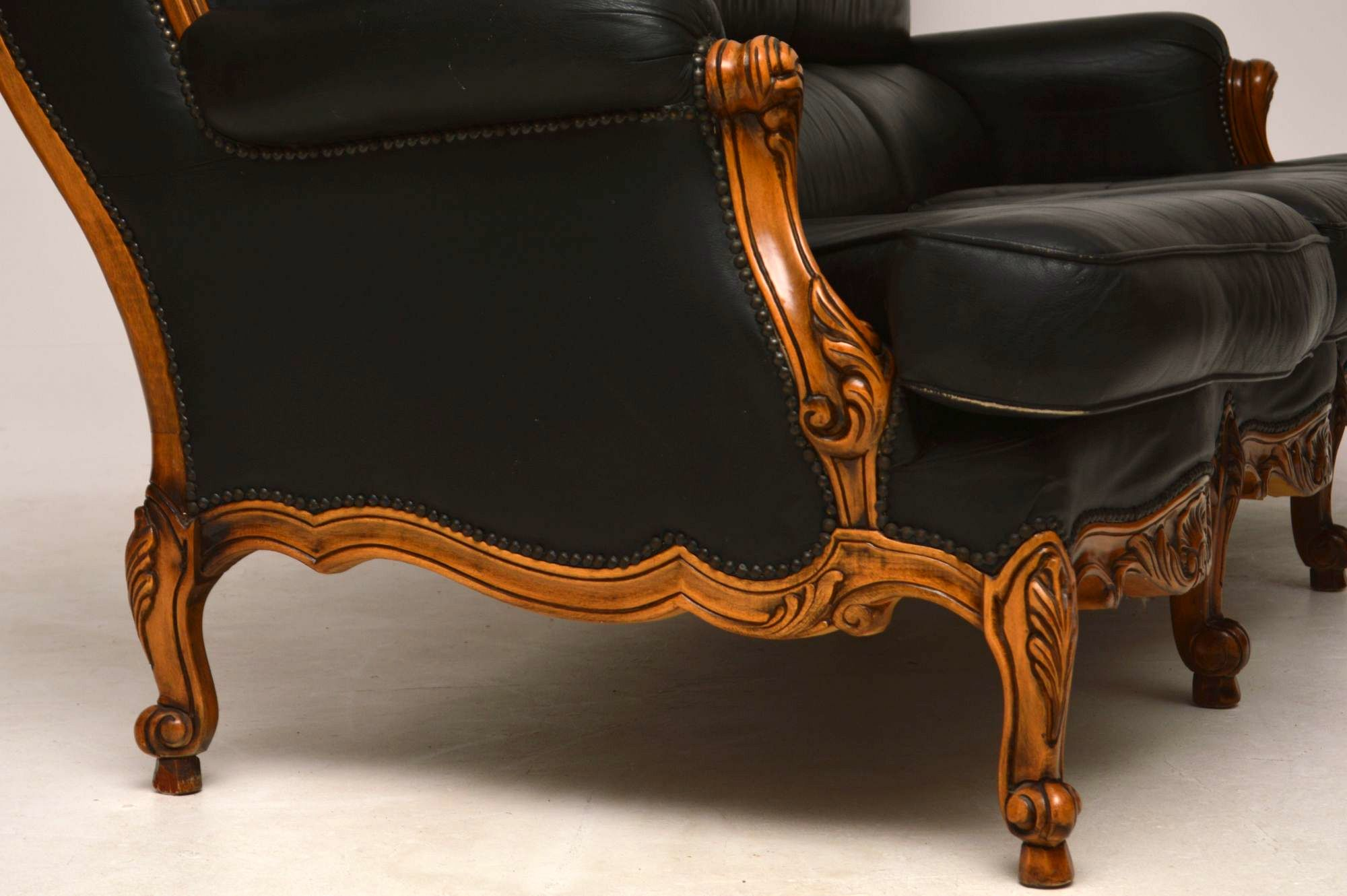 Danish Furniture St Louis Antique French Louis Style Vintage Leather Sofa