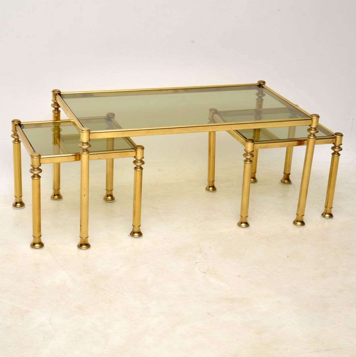 Glass Nest Coffee Tables 1970s Brass And Glass Nesting Coffee Table Retrospective