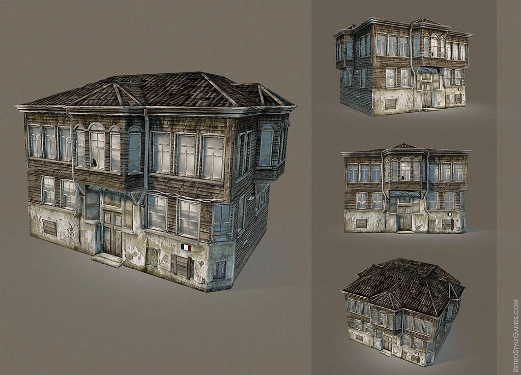 Free 3D Model of Old Wooden Building | RetroStyle Games