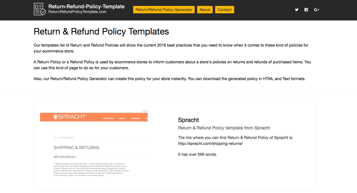 Return  Refund Policy Templates and Generator