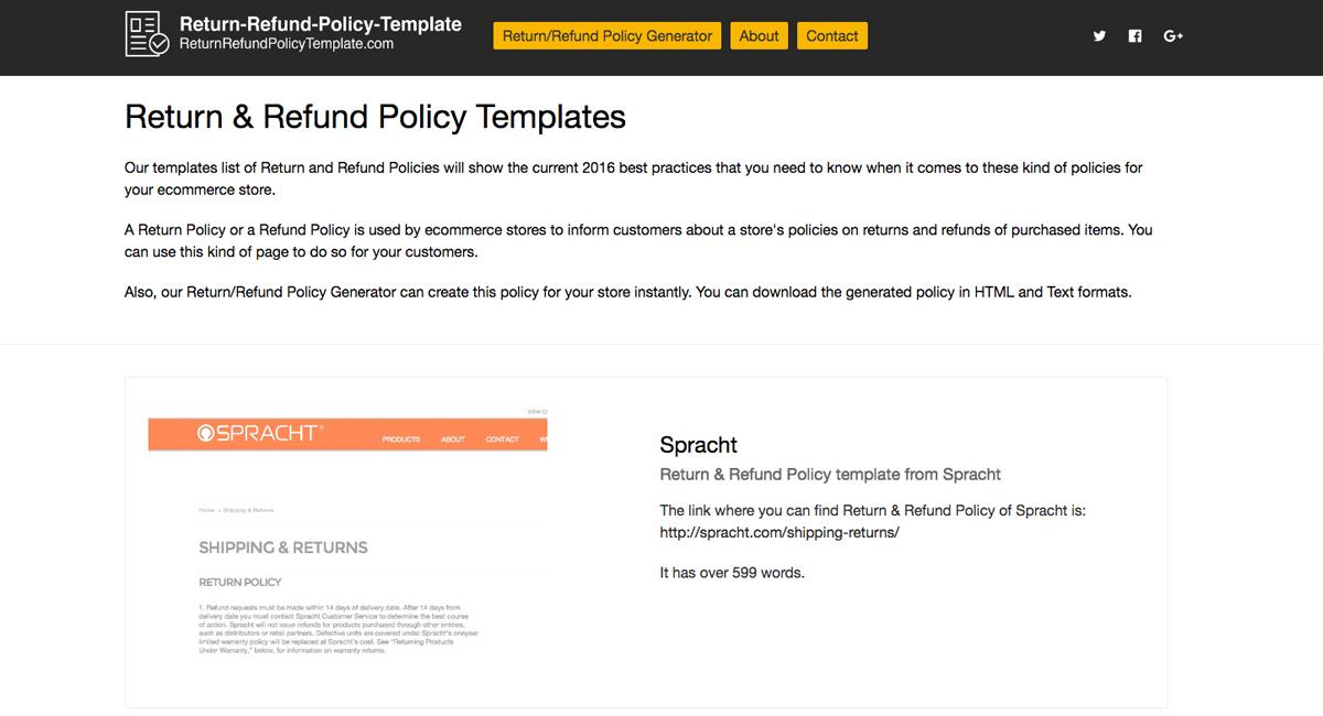 2019 Return  Refund Policy Templates