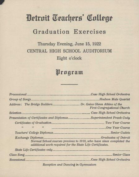Walter P Reuther Library Detroit Teachers College Graduation