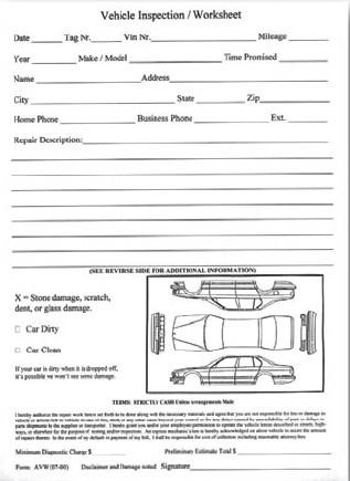 Vehicle Inspection Worksheet Rev Dealer Supply 7295Auto Dealer - vehicle inspection form