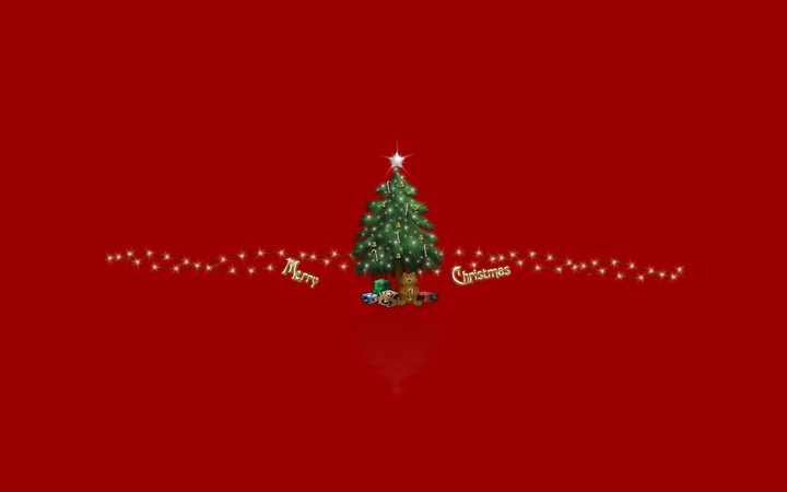 Hd Gif Wallpaper For Desktop Merry Christmas Tree And Beer Gif On Red Background