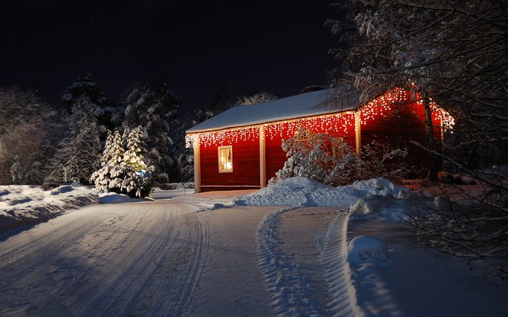 Occult Wallpapers Hd Winter Landscape With Cabin Hut At Night In Kiruna Sweden