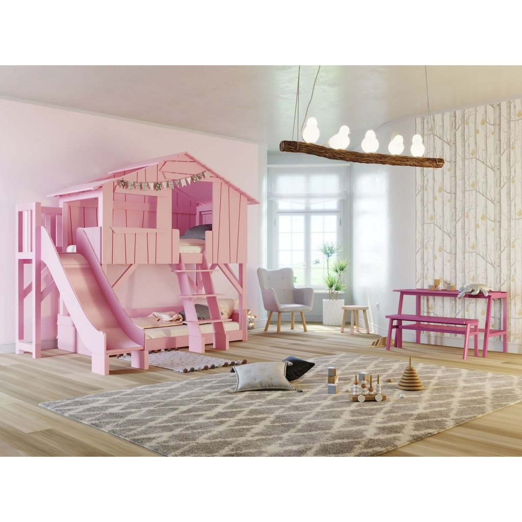 Lit Bebe Toboggan Treehouse Bunk Bed With Slide And Plateform By Mathy By Bols In Pink