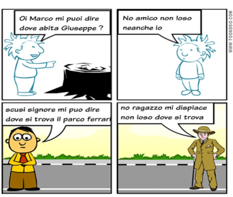 Figure 2: An example of a comic strip created by a non-native speaker student focusing on two different communicative situations (in the upper part, an informal situation, and in the lower part, a formal situation).