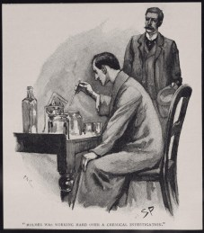 Watson conhece Sherlock  num hospital local (ilustração de Sidney Paget)