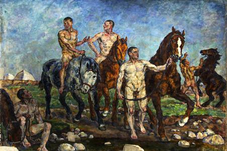 P. Kontchalovski, Banho da cavalaria vermelha, 1928.