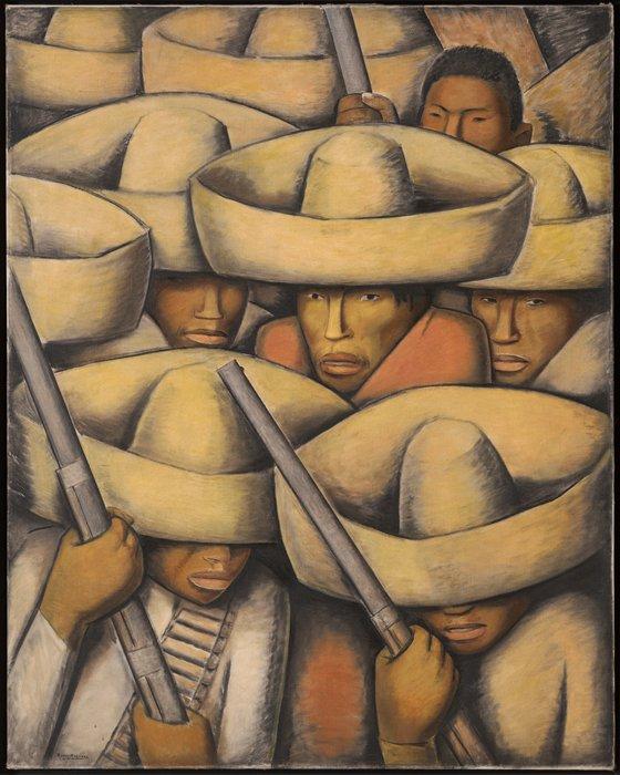 Zapatistas ou Soldados mexicanos (1932). Debaixo dos sombreros de Alfredo Ramos Martínez (1875-1946), não há espaço para dúvidas: todxs são soldadxs.