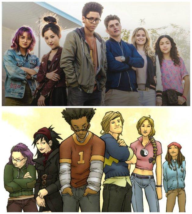 O pôster da série é uma homenagem à capa do primeiro encadernado dos quadrinhos. Da esq. para dir.: Gert, Nico, Alex, Chase, Karolina e Molly