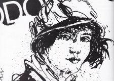 Retrato de Tina Modotti para el Suplemento Unicornio. Dibujo en tinta china