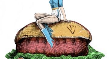La pin up del choripán. Ilustración de Cebolla.