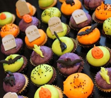 Cupcakes para Halloween con murciélagos