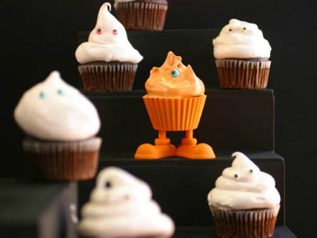 Cupcakes para Halloween con fantasmitas