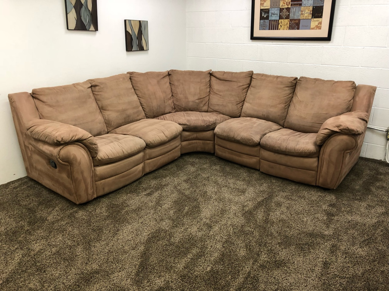 Microfiber Sectional Sofa Reserved 1087 Light Brown Microfiber Sectional Sofa Set With Dual Recliners