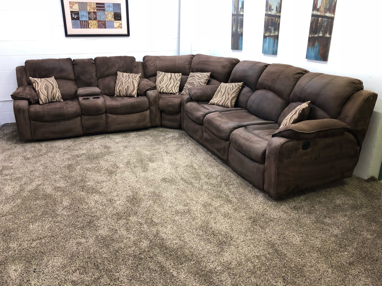 Sofa Set Action Reserved 1260 3 Piece Dark Brown Microfiber Power Reclining Sectional Sofa Set With Cup Holders And Storage