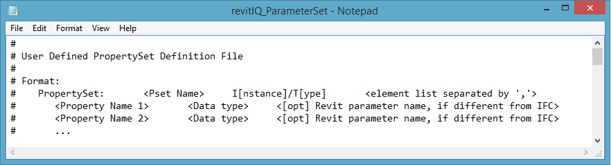 IFC _ParameterSet example