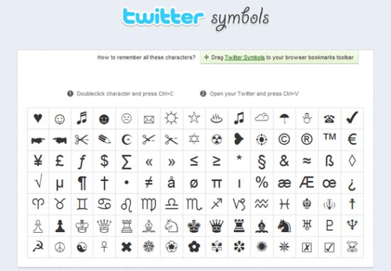 Símbolos o emoticones para twitter