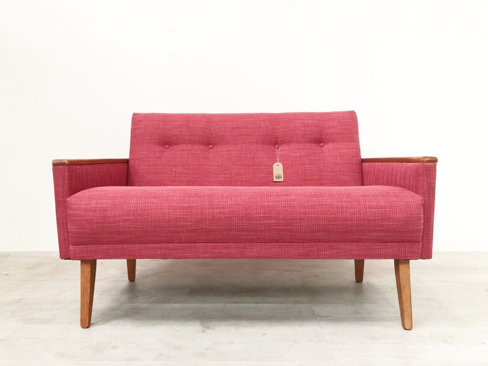 Sofa 60s Vintage Inspired Danish Mid Century 50s 60s 2 Seat Cocktail Sofa Settee In Raspberry