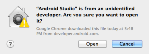 Android Studio Is From An Unidentified Developer