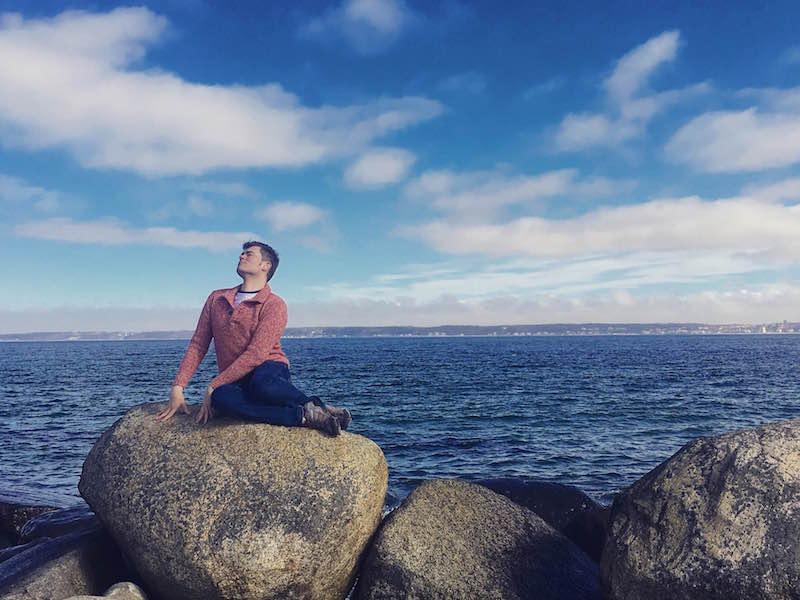 Handsome Travel Blogger at Helsingor, Denmark