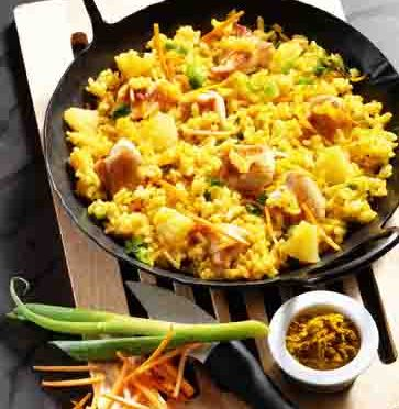 Curry-Risotto mit Huhn (für Diabetiker) Foto: Wirths PR