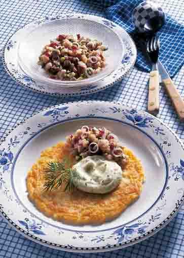 Kartofffelgerichte: Reibekuchen mit Matjestatar Foto: Wirths PR