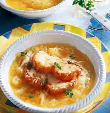 Französische Zwiebelsuppe (für Diabetiker) Foto: Wirths PR/Zott