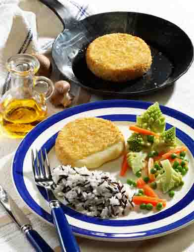 Kohl-Rezepte: Backcamembert mit Gemüse und Reis Foto: Wirths PR