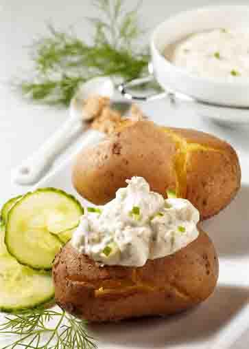 Kartoffelgerichte: Kartoffeln mit Tsatsiki Foto: Wirths PR