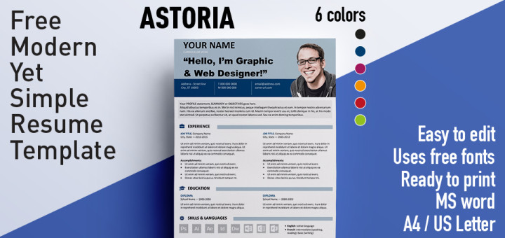 Astoria - Modern Yet Simple Free Resume Template - Free Resume Microsoft Word Templates