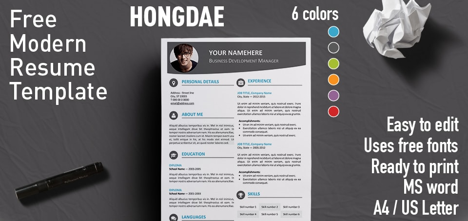 Hongdae Modern Resume Template - free template for resume in word