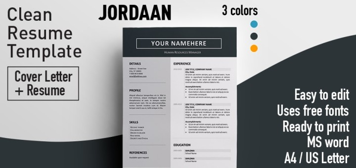 Jordaan - Clean Resume Template - clean resume template