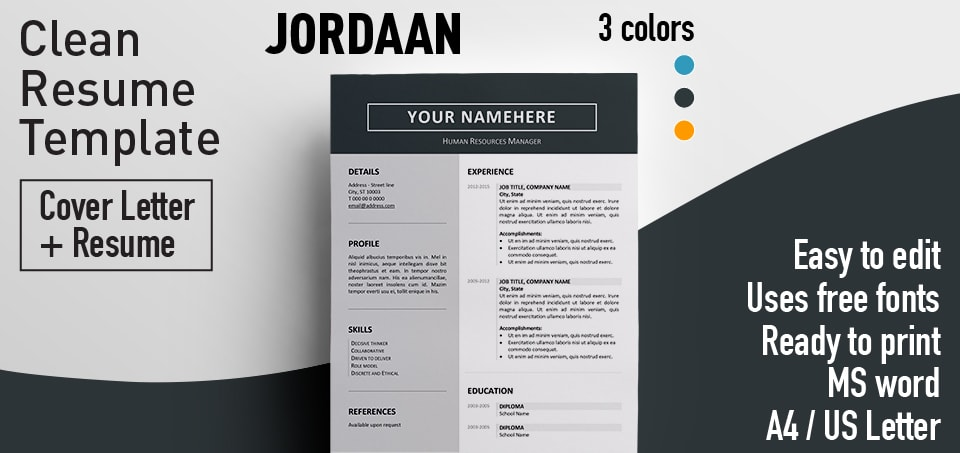 clean cv template design in microsoft word