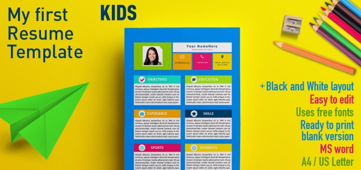 My First Resume Template for Kids - my first resume