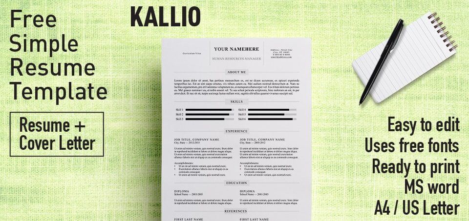 Kallio - Simple Resume Word Template (DOCX) - Resume Templates For Word