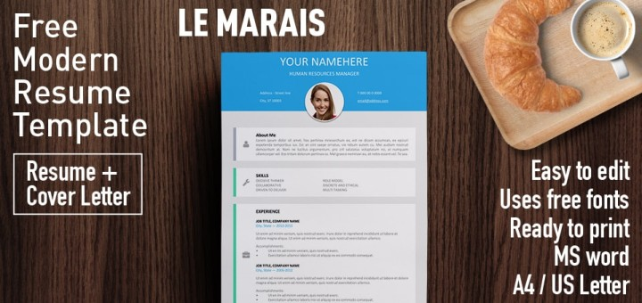 Le Marais - Free Modern Resume Template - Resume Templates For Word