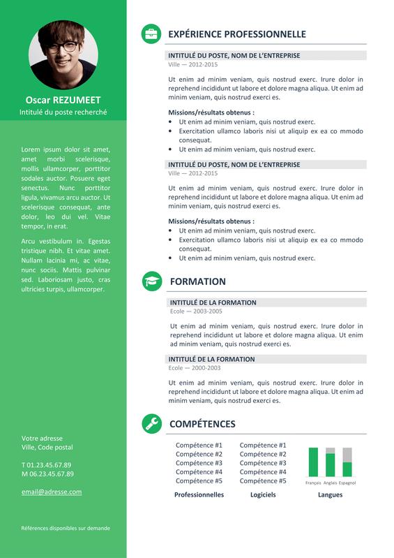telecharger cv gratuit powerpoint vert