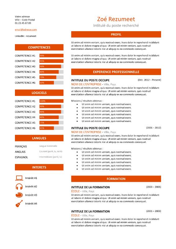 modele de cv sur plusieurs pages