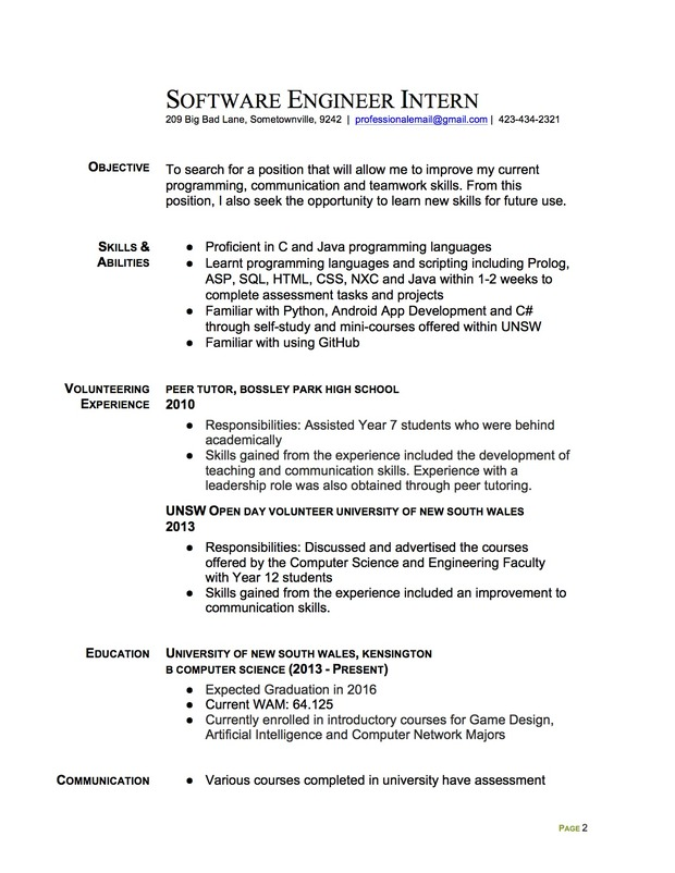 Join the #RedditResume Critique Project! Software Engineer Intern - sample college internship resume