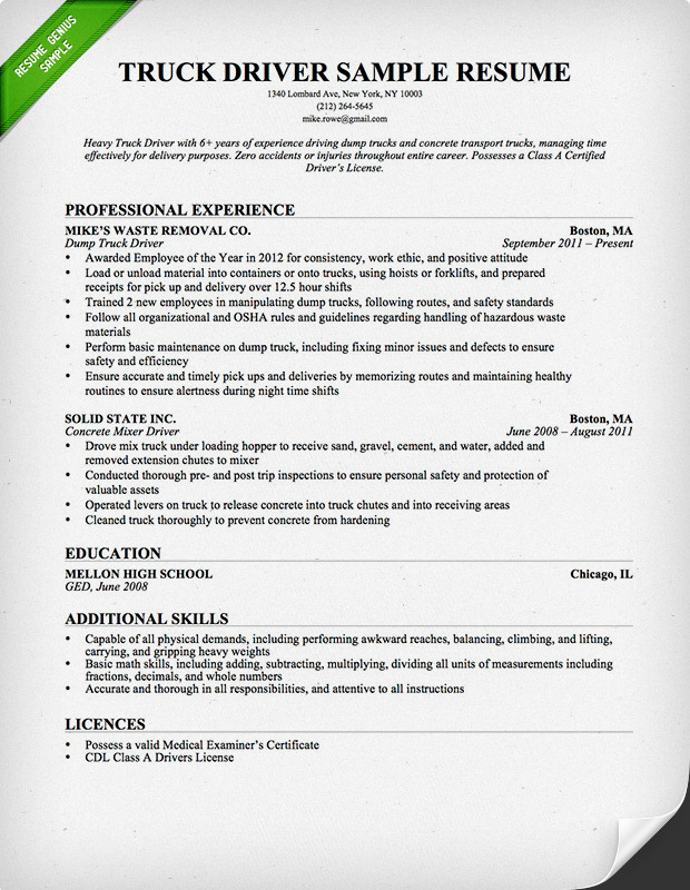 Sample Resume For Delivery Driver – Sample Driver Resume